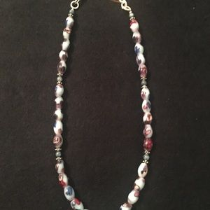 Jewelry - Blue & Brown Beads with Silver Accents